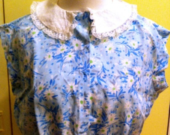 1950s Cropped Floral Blouse