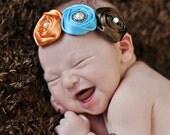 Citrus Orange, Copen Blue and Chocolate Brown Triple Rosette Headband