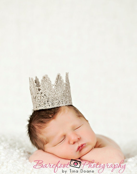 "Vintage ""Charlie"" Handmade Crown - 4 Color Choices - Photography Prop - Newborn - Baby"