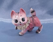 Pretty in Pink Tabby Kitty Ceramic Figurine 3.5 Inches Tall Made in Japan