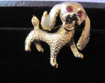 Cute ruby eyes dog brooch pin