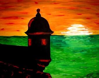 Large Original Acrylic Painting - 24 x 30 - Extranando La Isla (Missing the Island) - FREE SHIPPING