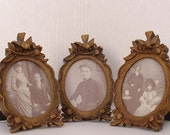 Shabby style old vintage chic looking, vintage photo frames Set of 3  frames Ready to Ship