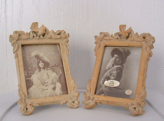 2 Cottage Chic style old vintage, vintage photo frames Set of two (2) Ready to Ship