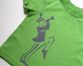 SALE -- Marching Band Man (Soft Gray on Kelly Green) -12M Cotton Toddler Tee