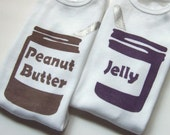 Peanut Butter and Jelly Onesies Set (Peanut Butter Brown and Grape Jelly Purple) 3M Baby Bodysuit -- Twin Set