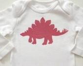 Pink Stegosaurus (Fuschia  on White Onesie) -- 3M Long-sleeve Baby Bodysuit - Cabaret Pink