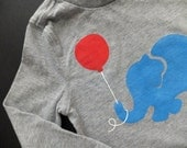 Patriotic Pachyderm (Red White and Blue on Dappled Gray) -- 24M Toddler Long-Sleeve Tee