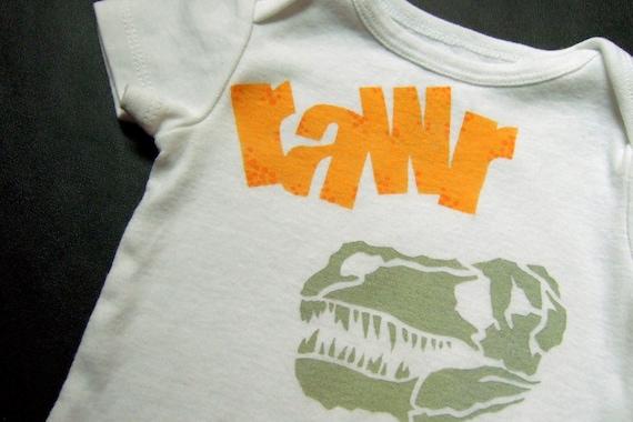 Sue the T-Rex (Dinosaur Love) Onesie -- (Bright Orange with Speckles Bone Gray) 6-9M Baby Bodysuit