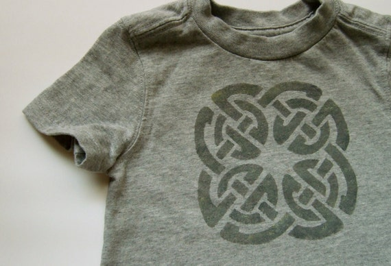 Earthy Celtic Knot (Textured Black on Gray) -- 12M Toddler Tee