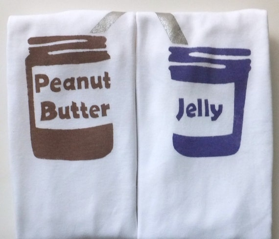 Peanut Butter and Jelly Onesies Set (Peanut Butter Brown and Grape Jelly Purple) 12M Baby Bodysuit -- Twin Set