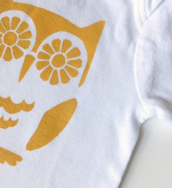 Yellow Bright-Eyed Owl (Mustard Print on White Onesie) -- 12-18M Baby Bodysuit