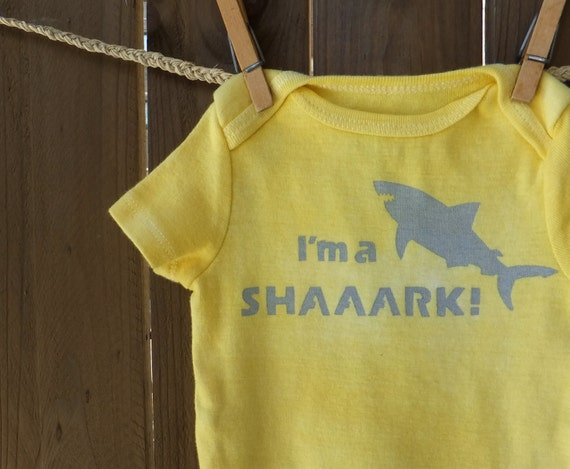I'm a SHAAARK - Funny Baby Onesie (Golden Yellow and Gray) 3-6M Baby Bodysuit