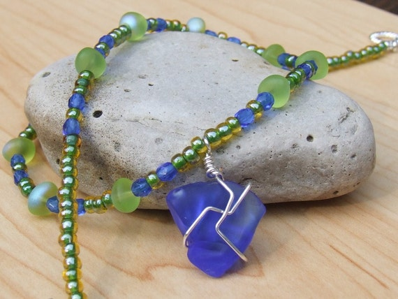 Blue and Sea Green Wire Wrapped Beach Glass Necklace