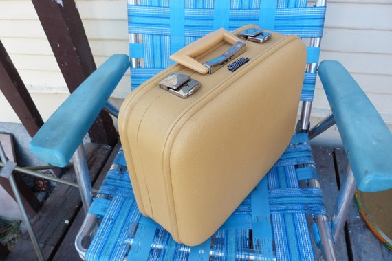Mustard Yellow Medium Sized Suitcase 1960's By Holiday Luggage Montreal ON HOLD