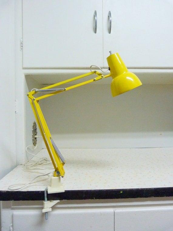 Vintage Sunny Yellow Luxo Clamp on Lamp Mid Century Modern