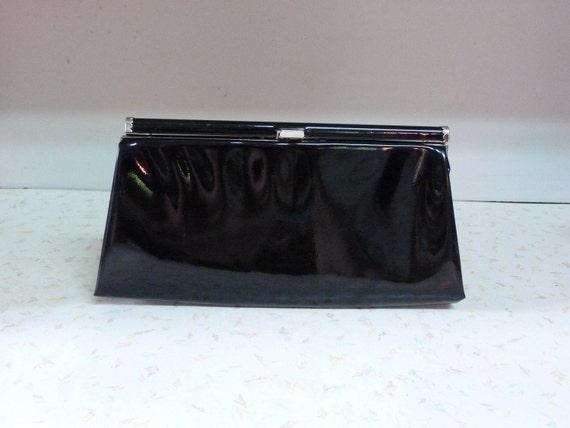 Vintage Black Shiny Mod Clutch Purse 1950's by Designer J.R U.S.A