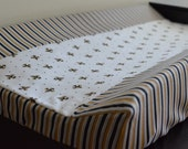 Black, Gold and White Fleur De Lis Custom Made to Order Changing Pad Cover
