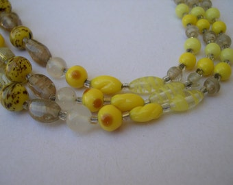 Three Strand Glass Bead Necklace in Yellow