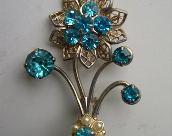 Flower Brooch with Blue Rhinestones
