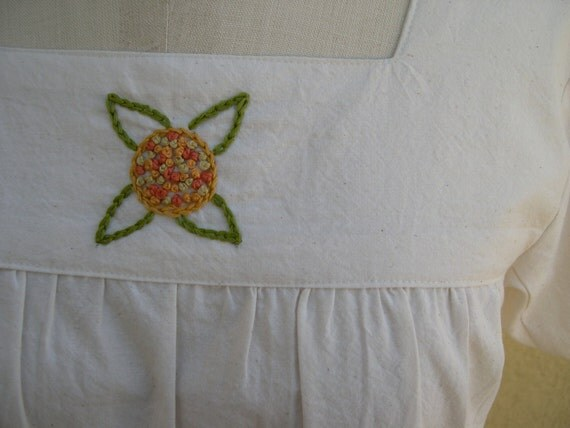 Muslin Peasant Top with Hand Embroidery