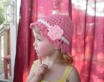 12 months Crocheted Little Pink Hat