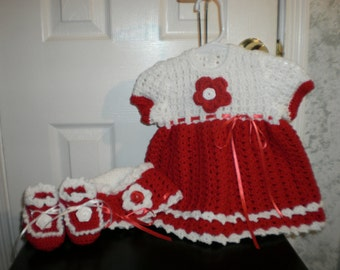 REDUCED 6 to 12 Months Crocheted Red and White Dress Set