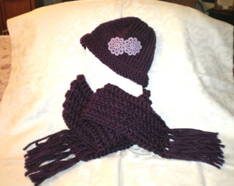Wine Colored Knit Hat and Crocheted Matching Scarf