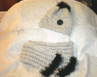 Fur Trimmed Knit and Crochet Hat and Scarf Set