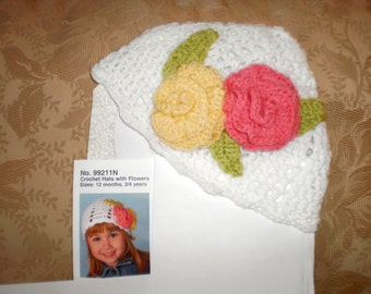 Little Girls White Hat with Pink and Yellow Roses