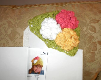 Little Girls Green Hat with Pink, White and Yellow Flowers