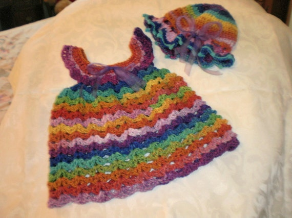 Girls 18 Months  Crocheted Mosaic Pinafore and Bonnet