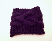 purple - cable knit cup cozy