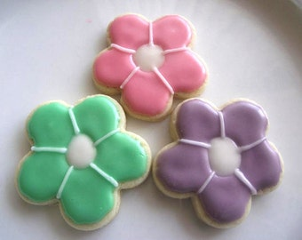 Flower sugar cookies 2 dozen  -  for  wedding favors, bridal shower, graduation, birthday,mothers day