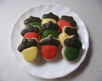 Fall Theme Acorn Sugar Cookies, 3 dozen