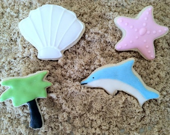 Beach Wedding Cookie favor, wedding favor - dolphin, shells,palm tree, starfish - 2 dozen