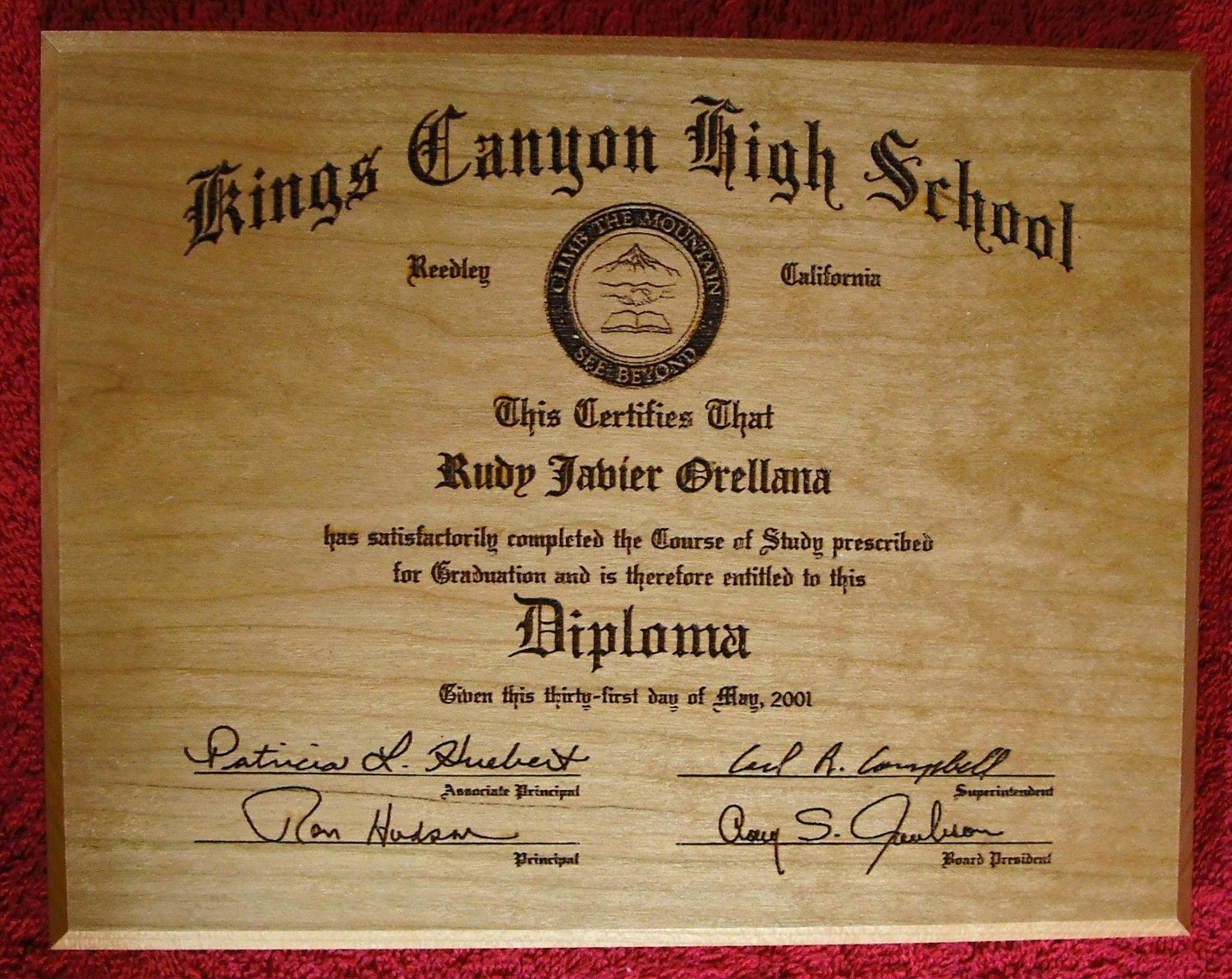 Graduation Diploma Laser Engraved Wood Plaque