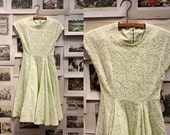 1950's Celery Green Lace Dress with Beaded Pearls