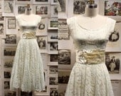 1950's Ivory and Mint Lace Dress with Satin