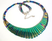 One of a Kind Colorful Rainbow Hematite Titanum Bib Styled Necklace - FREE SHIPPING