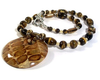 Tiger Eye Necklace Set, High Gloss Wood Pendant, Statement Necklace, Earth Tones Jewelry, 2 Piece Set