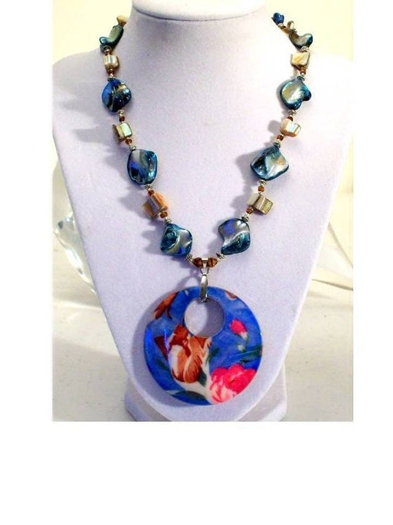 CLEARANCE - One of a Kind Hand Made - Blue Mother Pearl Floral Pendant Necklace- FREE SHIPPING