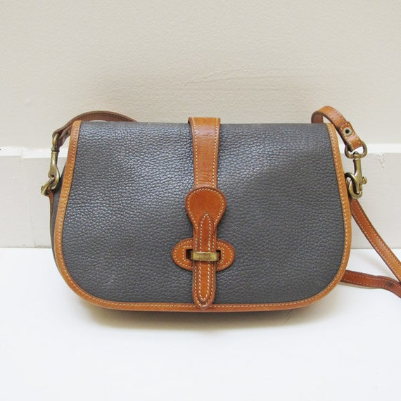 Vintage Dooney & Bourke Small Purse Handbag British Tan and Charcoal Grey