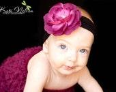 Wine Flower on Black Nylon Headband - Perfect Baby Headband Newborn Headband Photo Prop