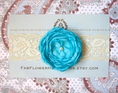 Aqua Flower on Wide Cream Lace Headband - All Sizes