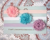 Great Deal - Set of 3 Shabby Frayed Fabric Rose Headbands - All Sizes - Newborn Headband - Baby Headband  - Girl Headband