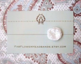 Small White Flower on Skinny Headband - Baby Headband to Adult Headband