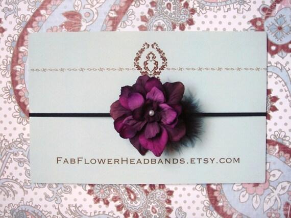 Purple flower headband - newborn headband - baby headband