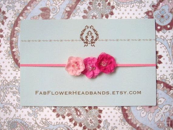 Small Pink Flower Headband - Baby Headband - Newborn Headband