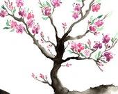 Watercolor Painting - Sakura Tree Cherry Blossom Art Nature Sumi-e Art Print